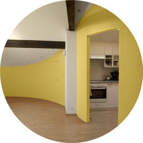 Peinture jaune citron haut de gamme - mur et plafond