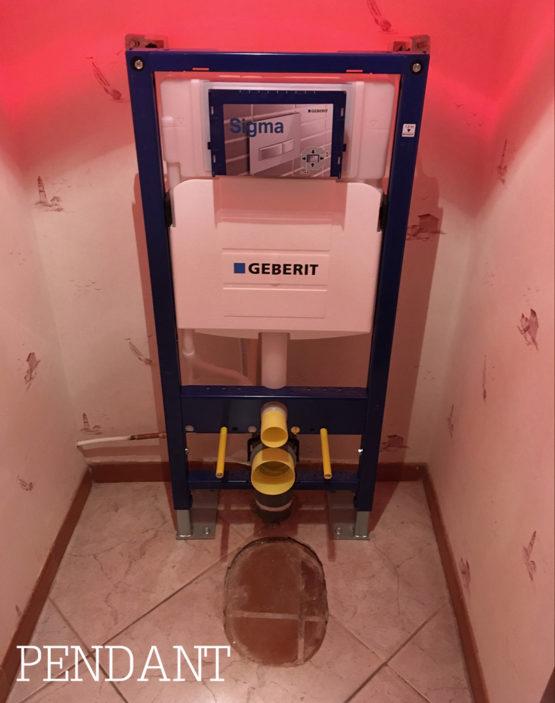 Installation de bati support décoratif pour toilettes