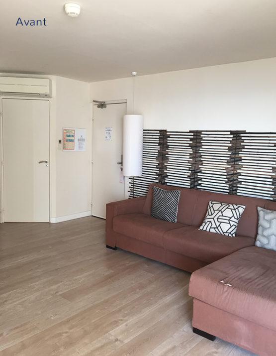 Décoration salon homestaging relooking dans un hotel de la Grande Motte